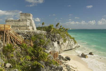 roo: El Castillo is pictured in Mayan ruins of Ruinas de Tulum (Tulum Ruins) in Quintana Roo, Yucatan Peninsula, Mexico. Stock Photo