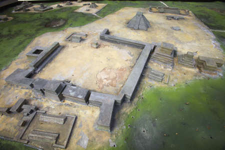 Architectural model of Mayan ruins at Chichen-Itza, Yucatan Peninsula, Mexico