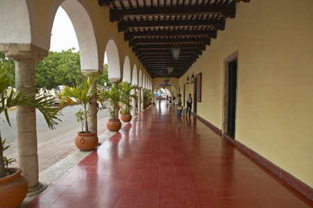 archways: Sidewalk and old Mexican colonial archways in Valladolid, Yucatan Peninsula, Mexico