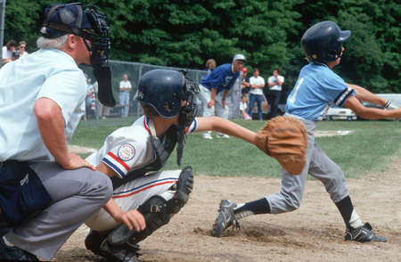 Little League baseball player at bat, Hebron, Connecticut
