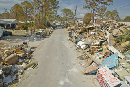 Road to total destruction, rubble and debris from homes hit by Hurricane Ivan in Pensacola Florida