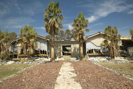 フロリダ州ペンサコラのハリケーン Ivan によって破壊された家にパーム ツリーの遊歩道します。