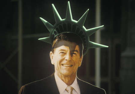 ronald reagan: Cardboard cutout of President Ronald Reagan Editorial