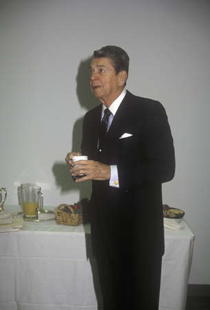 ronald reagan: President Ronald Reagan taking a coffee break Editorial