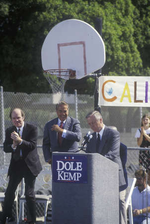 wilson: California Governor Pete Wilson speaks at a rally for 1996 Republican presidential candidate Bob Dole at Temple Christian School in Ventura, California