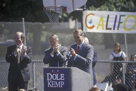 on the dole: Republican presidential candidate for the 1996 election, Senator Bob Dole speaks at a rally at Temple Christian School in Ventura, California