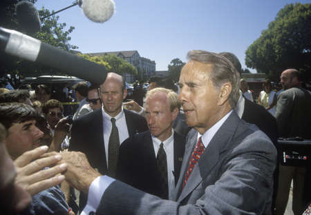 on the dole: Republican presidential candidate for the 1996 election, Senator Bob Dole greets people at a rally at Temple Christian School in Ventura, California