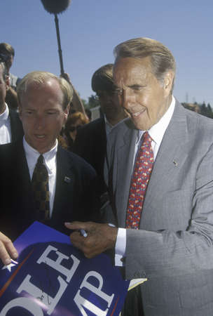 on the dole: Republican presidential candidate for the 1996 election, Senator Bob Dole smiles as he meets people at a rally at Temple Christian School in Ventura, California