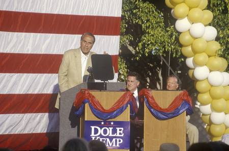 Presidential candidate Bob Dole speaks at a rally in Santa Barbara after the 1996 Republican National Convention in San Diego, California.