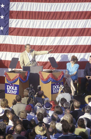 political and social issues: Presidential candidate Bob Dole speaks at a rally in Santa Barbara after the 1996 Republican National Convention in San Diego, California.