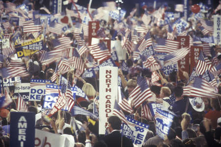 Delegates and campaign signs at the Republican National Convention in 1996, San Diego, CA