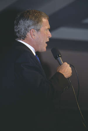 burbank: George W. Bush speaking at campaign rally, Burbank, CA in 2000