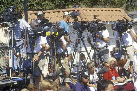on the dole: Cameramen photographing Senator Robert Dole speaking at a campaign rally in Santa Barbara in 1996, CA