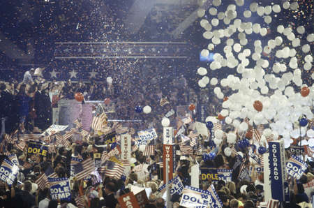 on the dole: Balloons and confetti dropping as Dole is nominated at the Republican National Convention in 1996, San Diego, CA