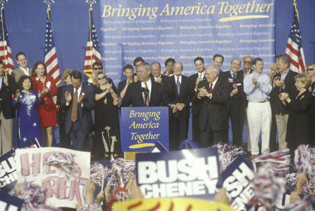 campaigning: BushCheney campaign rally in Costa Mesa, CA Editorial