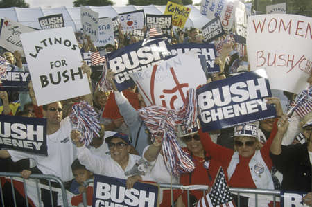 political and social issues: BushCheney campaign rally in Costa Mesa, CA Editorial