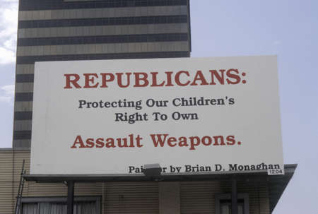republican party: Large sign for gun control protesting against Republican party