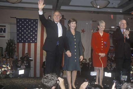 George W. Bush, Mrs. Bush, Senator and Mrs. John McCain at campaign rally, Burbank, CA in 2000