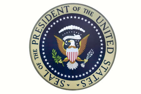 ronald reagan: Seal of the President of the United States on display at the Ronald Reagan Presidential Library and Museum, Simi Valley, CA
