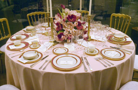 ronald reagan: Replica of a White House state dinner on display at the Ronald Reagan Presidential Library and Museum, Simi Valley, CA