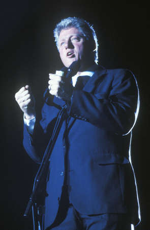 campaigning: Governor Bill Clinton speaks at a Texas campaign rally in 1992 on his final day of campaigning in McAllen, Texas