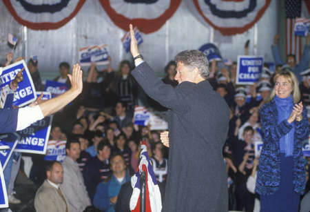 campaigning: Governor Bill Clinton works the crowd at a Michigan campaign rally in 1992 on his final day of campaigning, Detroit, Michigan