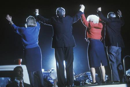 campaigning: Governor Bill Clinton, Hillary Clinton, Governor Ann Richards and Senator Lloyd Bentsen at a Texas campaign rally in 1992 on his final day of campaigning, McAllen, Texas