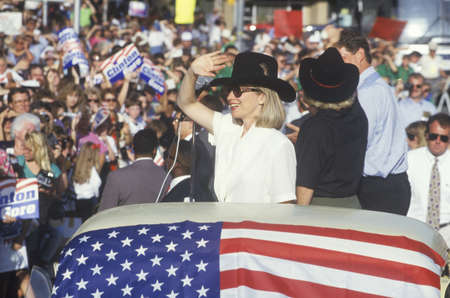Governor Bill Clinton, Senator Al Gore, Hillary Clinton and Tipper Gore at the County Court House during the 1992 Buscapade campaign tour in Athens, Texas