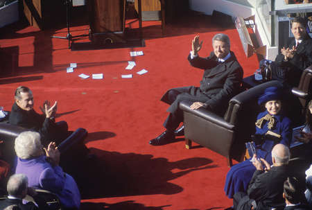42nd: Bill Clinton, 42nd President, waves on Inauguration Day 1993, Washington, DC Editorial