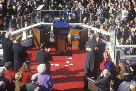Bill Clinton, 42nd President, embraces Al Gore on Inauguration Day 1993, Washington, DC