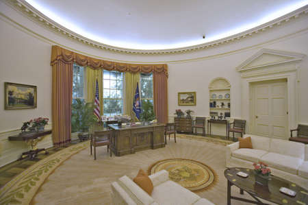Replica of the White House Oval Office on display at the Ronald Reagan Presidential Library and Museum, Simi Valley, CA