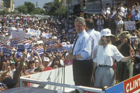 Governor Bill Clinton and Hillary Clinton during the Clinton/Gore 1992 Buscapade campaign tour in Corsicana, Texas