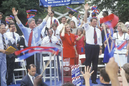 Governor Bill Clinton, Senator Al Gore, Hillary Clinton and Tipper Gore during the ClintonGore 1992 Buscapade campaign tour in Austin, Texas