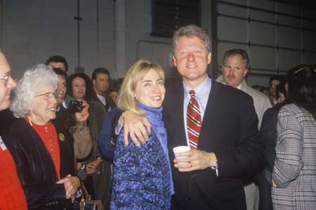 Bill and Hillary Clinton at a St. Louis campaign rally in 1992, Bill Clintons final day of campaigning in St. Louis, Missouri