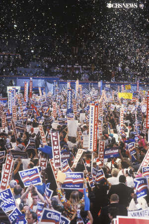 Presidential celebration at the 1992 Democratic Convention in Madison Square Garden, Manhattan, New York Editorial