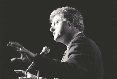 campaigning: Governor Bill Clinton speaks at a New York rally during the ClintonGore campaign of 1992 Editorial