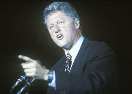 campaigning: Governor Bill Clinton speaks at a Kentucky campaign rally in 1992 on his final day of campaigning in Paducah, Kentucky