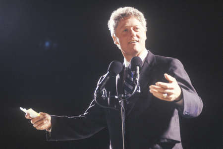 campaigning: Governor Bill Clinton addresses a crowd at a Texas campaign rally in 1992 on his final day of campaigning in Ft. Worth, Texas