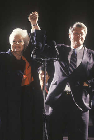 campaigning: Governor Bill Clinton and Governor Ann Richards at a Texas campaign rally in 1992 on his final day of campaigning, Fort Worth, Texas