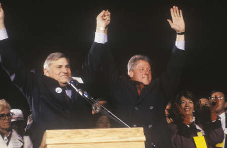 campaigning: Governor Bill Clinton at a New Mexico campaign rally in 1992 on his final day of campaigning, Albuquerque, New Mexico