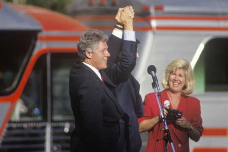 campaigning: Governor Bill Clinton and Senator Al Gore at a Ohio campaign rally in 1992 on his final day of campaigning, Cleveland, Ohio