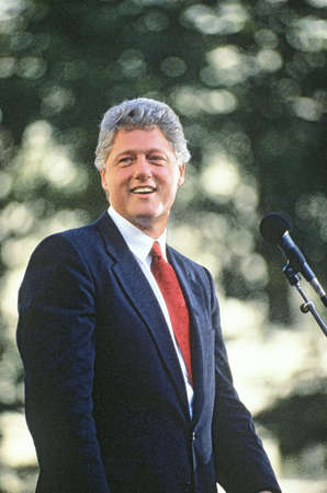 Cleveland, Ohio, 1992- Digitally enhanced image of Governor Bill Clinton speaking in Ohio during the ClintonGore Buscapade campaign tour. Redakční