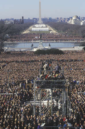 Camera stands and crowd on Bill Clinton's Inauguration Day January 20, 1993 in Washington, DC Фото со стока - 20712088
