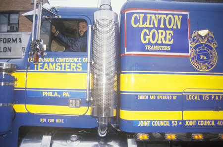 campaigning: Teamsters for ClintonGore at the Mayfield Diner in 1992 on his final day of campaigning in Philadelphia, Pennsylvania