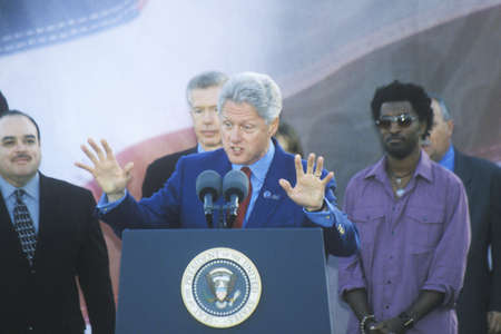 speaks: Former President Bill Clinton speaks at a Presidential rally for GoreLieberman on November 2nd of 2000 in Baldwin Hills, California