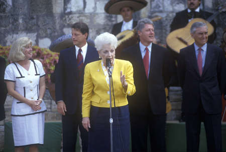 Ann Richards speaks at Arneson River during the Clinton/Gore 1992 Buscapade campaign tour in San Antonio, Texas