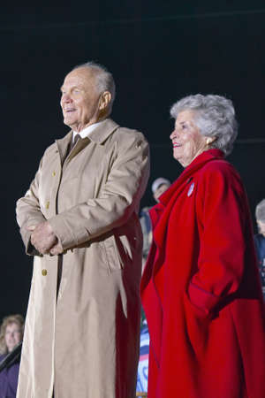 Former Senator John Glenn and Mrs. Annie Glenn at a Ohio campaign rally in 1992 on Bill Clintons final day of campaigning in Cleveland, Ohio