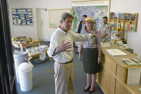 near death: Senator John Kerry visits Mojave National Preserve park office during a campaign stop near Death Valley in 118 degree Baker, Ca