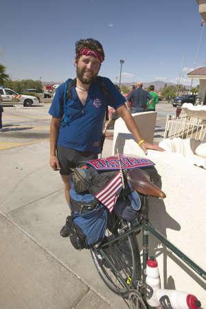 across america: Ride Across America KerryEdwards supporter at the Mojave National Preserve in 118 degree Baker, Ca