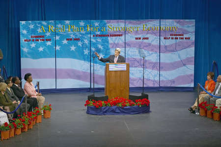 senator: Senator John Kerry at podium of major policy address on the economy, CSU- Dominguez Hills, Los Angeles, CA